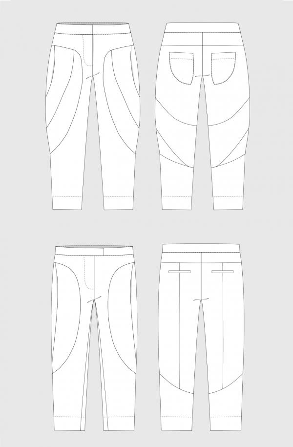 Darlow pants – technical sketch