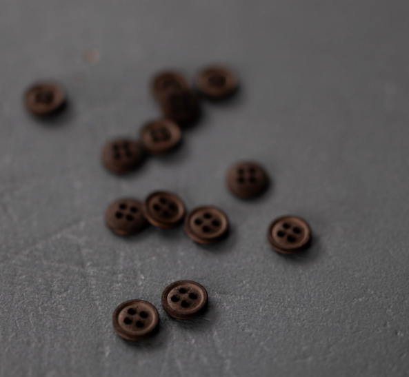 11mm Black Coffee Cotton Buttons